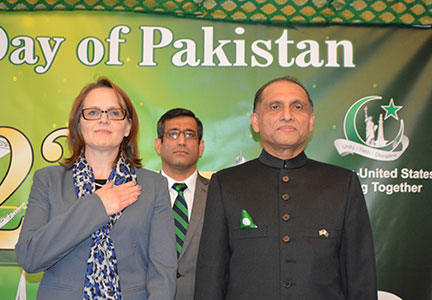 Ambassador-Aizaz-Chaudhry-with-Ms.-Lisa-Curtis,Deputy-Assistant-to-the-US-President-on-SA-listening-to-national-anthems-of-Pakistan